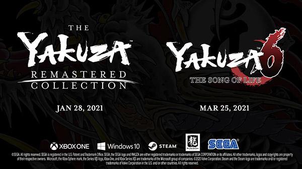 The Yakuza Remastered Collection chegando ao Xbox One e PC no dia 28 de Janeiro de 2021; Yakuza 6: The Song of Life será lançado no dia 25 de Março